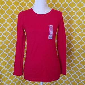 NWT- FADED GLORY RED CREW NECK LONG SLEEVE T-SHIRT